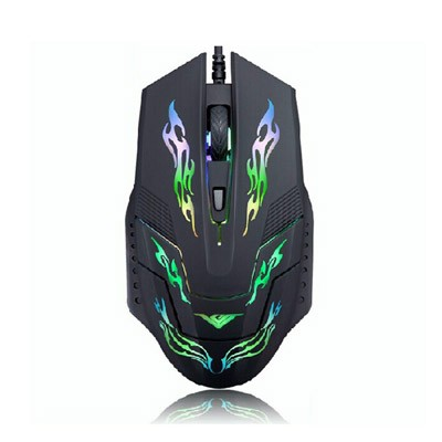 Rajfoo i5 Mouse Gaming USB dengan Cahaya LED - Black